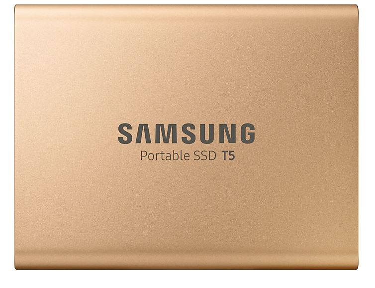 SAMSUNG T5 1TB PORTABLE USB-C SSD, UP TO 540MBs R/W, GOLD, 3YR WTY