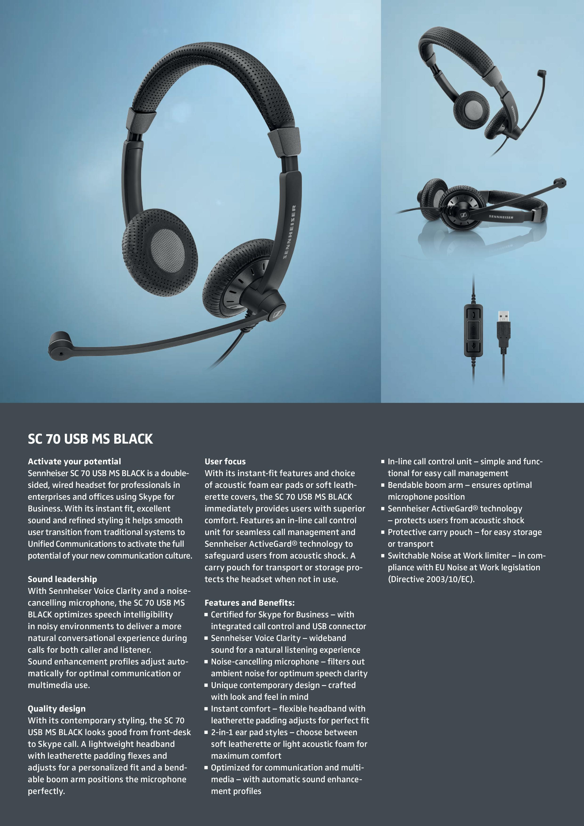 EPOS l Sennheiser IMPACT SC70 USB MS Black Double-Sided corded headset with USB Connect, Skype For Business Certified