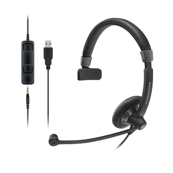 EPOS l Sennheiser SC45USBMS Monaural corded headset with 3.5 mm four-pole jack,USB cable with call control, Noise cancel mic, Teams, Skype for business