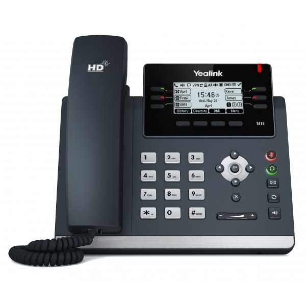 """Yealink T41S 6 Line IP phone, 2.7""""192x64 pixel graphical LCD with backlight, 2x 10/100 Ports, 6 Program keys/BLF/XML/HDV, 1x USB Port, Opus Suppor"""