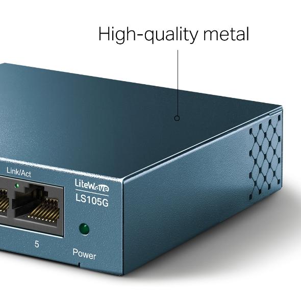 TP-Link LS105G 5-Port 10/100/1000Mbps Desktop Switch 10/100/1000Mbps Auto-Negotiation RJ45 port supporting Auto-MDI/MDIX