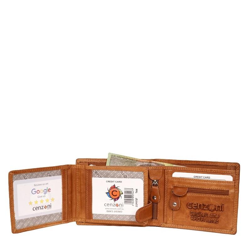 Men's Tan Genuine Leather Wallet Bi Fold RFID ZOP9737