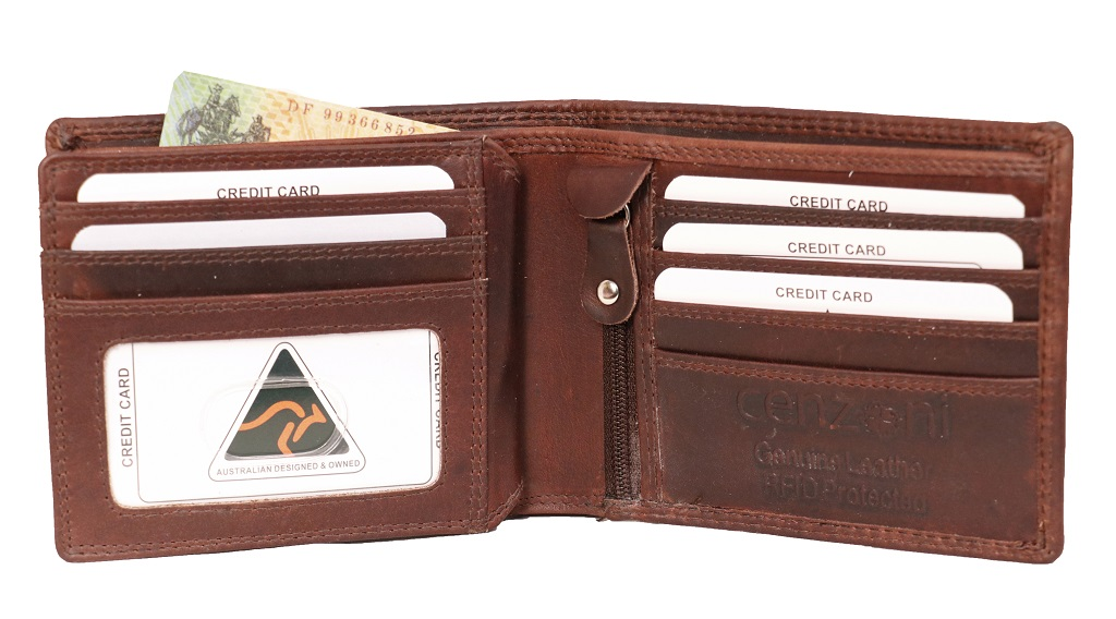Oil Leather Men's Brown Bifold Mid Section Flap Wallet ZOPM1