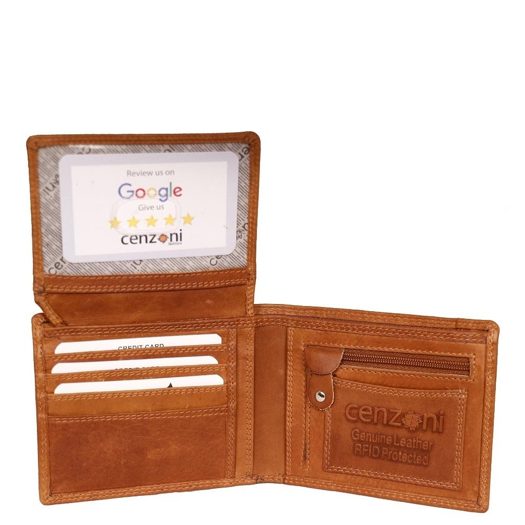 Men's Tan Oil Pull Up Leather Wallet ZOP1534