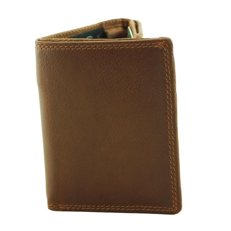 Men's Tan Trifold Leather Wallet ZOP23