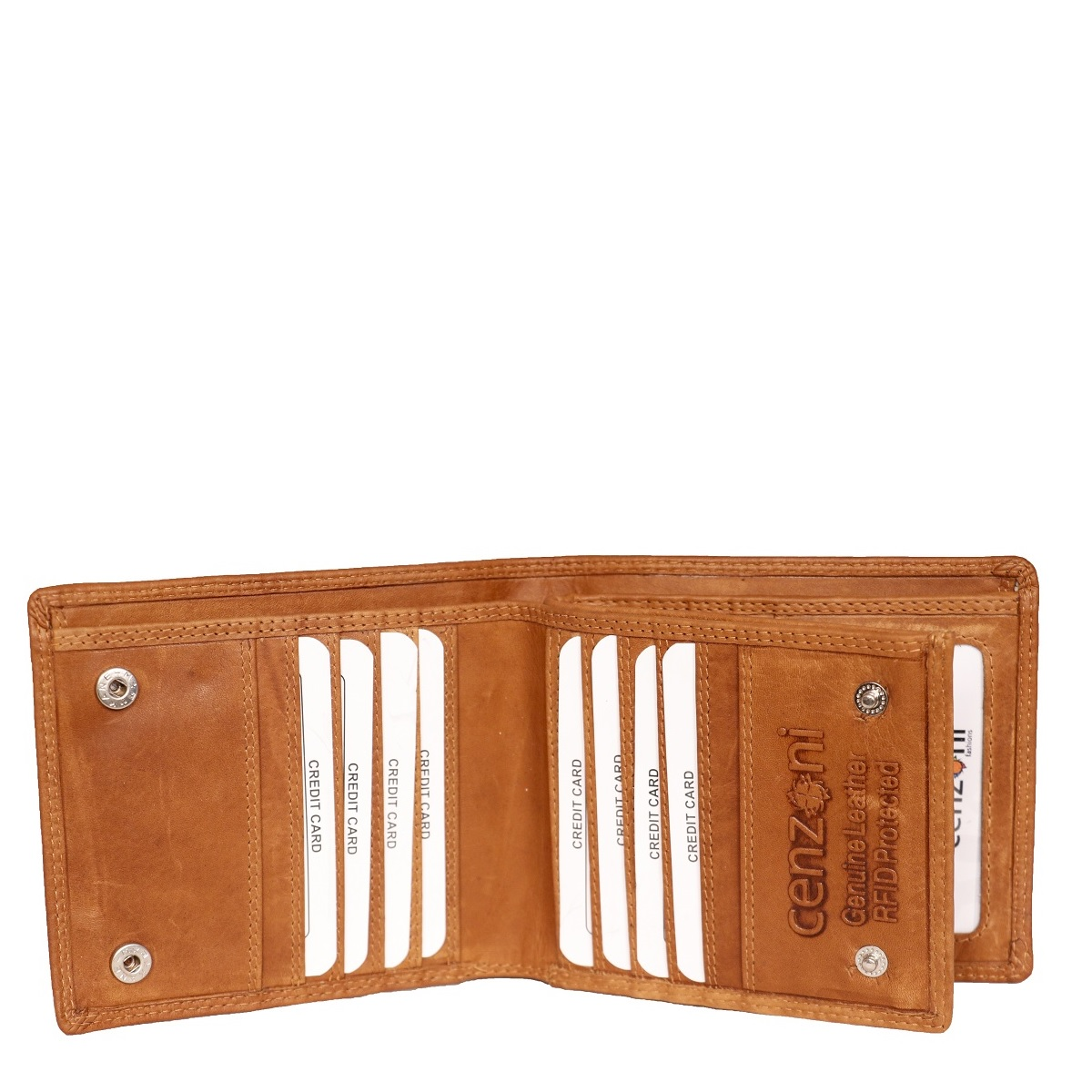 Men's Tan Leather Wallet with Coin Pocket Purse