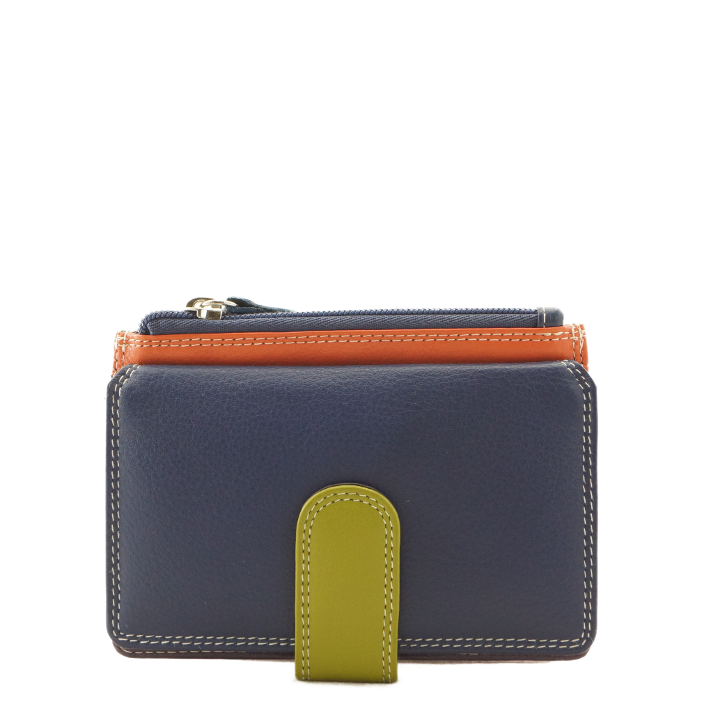 Leather Card Wallet Navy Multicoloured - ZMLW34